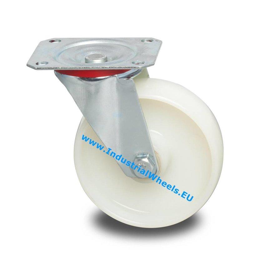 Transportgeräte Lenkrolle aus Stahlblech, Plattenbefestigung, Rad aus Polyamid, Rollenlager, Rad-Ø 100mm, 200KG
