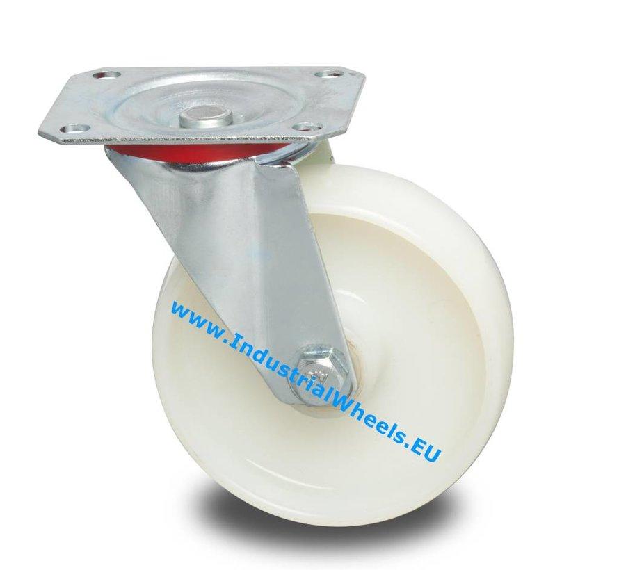 Zestawy kołowe transportowe Zestaw obrotowy  tłoczonej blachy stalowej, płytka mocująca, Piasta Poliamidu, łożysko rolkowe, Koło-Ø 125mm, 250KG