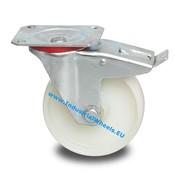 Swivel caster with brake, Ø 80mm, Polyamide wheel, 150KG