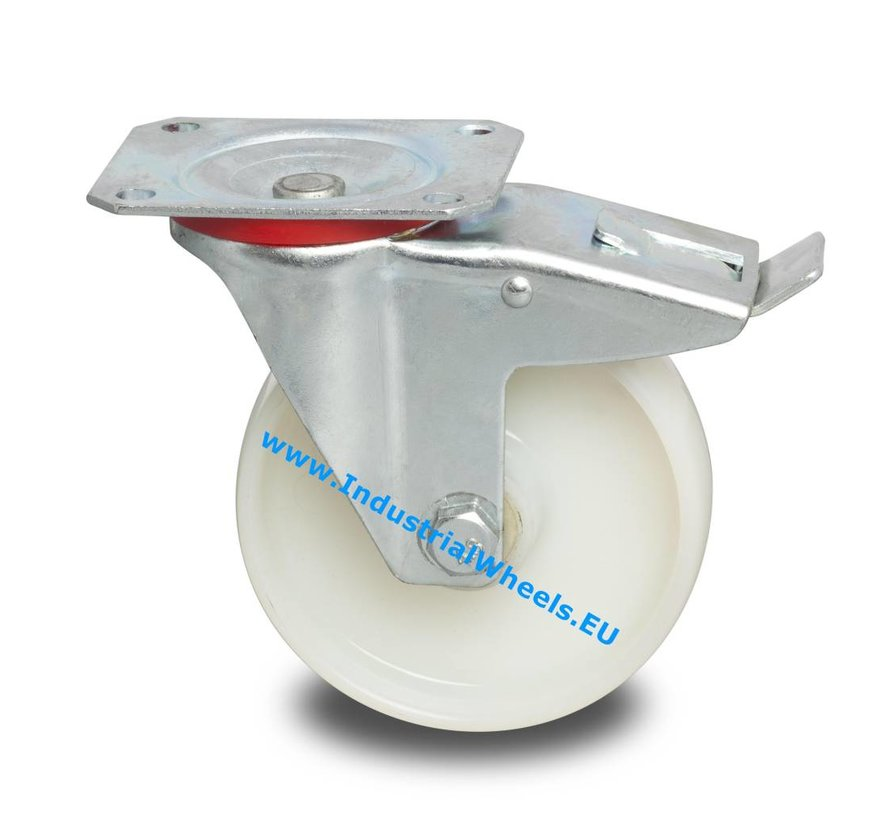 Industrial Swivel caster with brake from pressed steel, plate fitting, Polyamide wheel, roller bearing, Wheel-Ø 100mm, 200KG