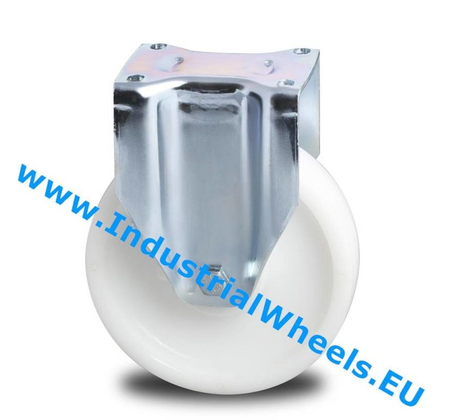 Ruedas de alta capacidad Rueda fija chapa de acero, pletina de fijación, Rueda Poliamida, cojinete de bolas de precisión, Rueda-Ø 200mm, 1000KG