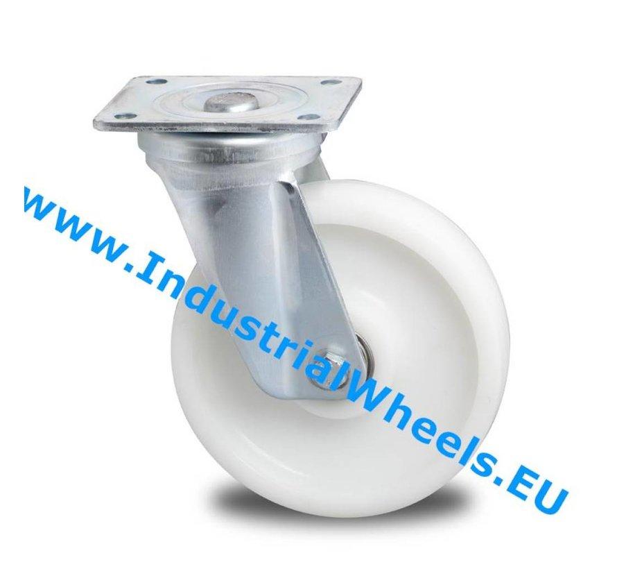 Hårde hjul Drejeligt hjul Stål, Pladebefæstigelse, PolyamidHjul, DIN-kugleleje, Hjul-Ø 125mm, 600KG
