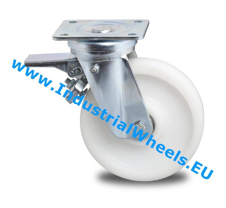 Ruedas de alta capacidad Rueda giratoria con freno chapa de acero, pletina de fijación, Rueda Poliamida, cojinete de bolas de precisión, Rueda-Ø 150mm, 700KG