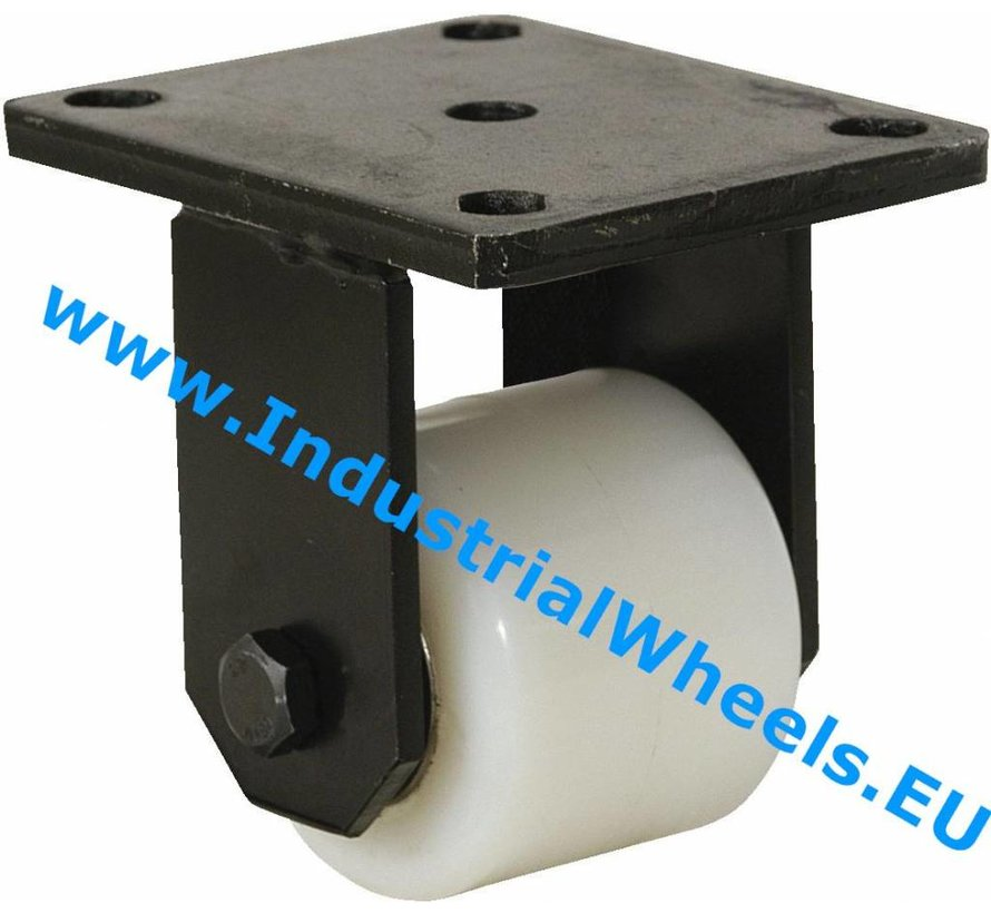 Heavy duty Fixed caster from Welded steel housing, plate fitting, Polyamide wheel, precision ball bearing, Wheel-Ø 82mm, 750KG
