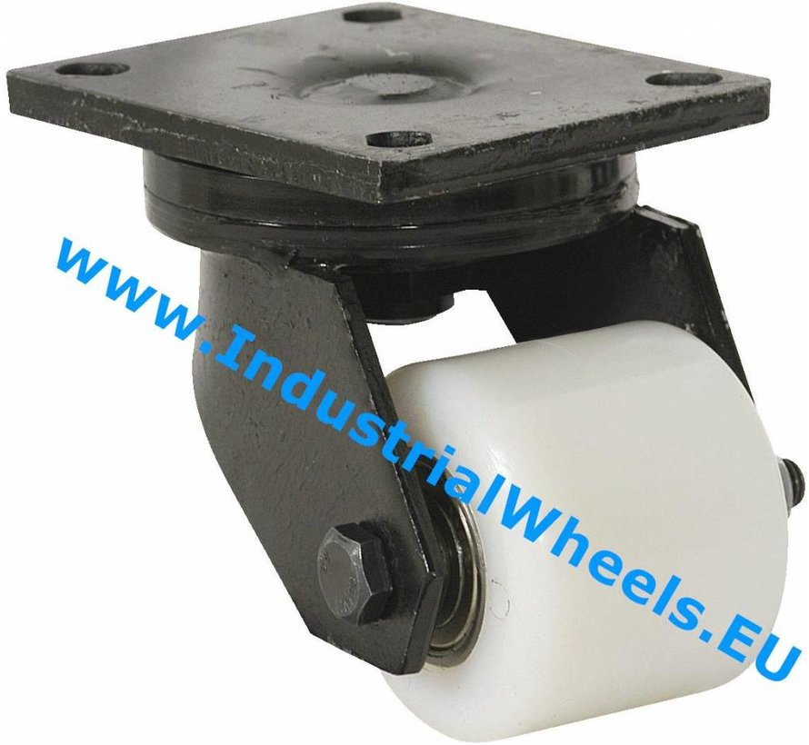 Hårde hjul Drejeligt hjul Gaffel og montageplade af stålsvejst konstruktion, Pladebefæstigelse, PolyamidHjul, DIN-kugleleje, Hjul-Ø 85mm, 800KG