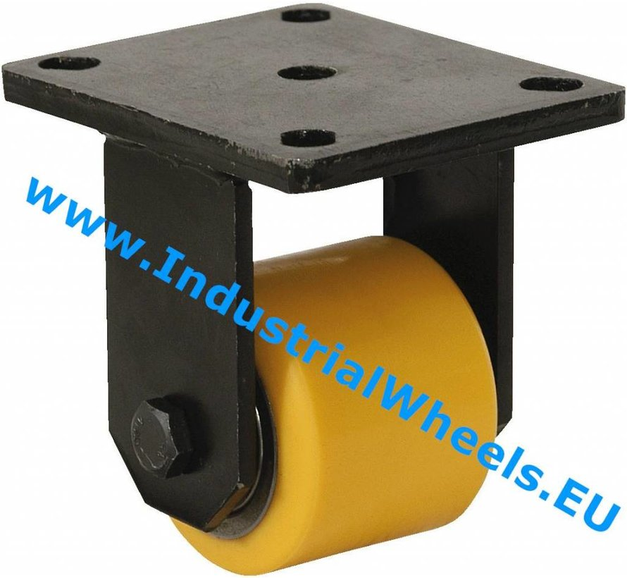 Heavy duty Fixed caster from Welded steel housing, plate fitting, Vulcanized Polyurethane tread, precision ball bearing, Wheel-Ø 85mm, 800KG