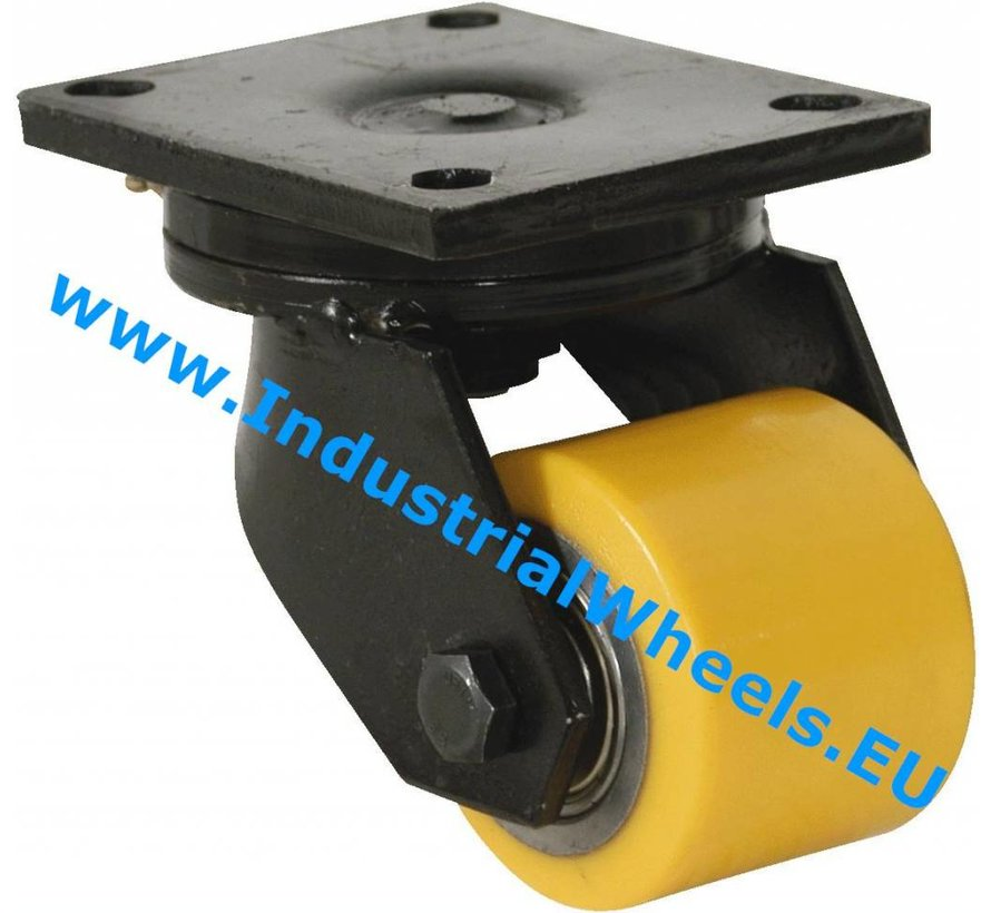 Heavy duty Swivel caster from Welded steel housing, plate fitting, Vulcanized Polyurethane tread, precision ball bearing, Wheel-Ø 85mm, 700KG