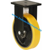 Fixed caster, Ø 125mm, Vulcanized Polyurethane tread, 300KG