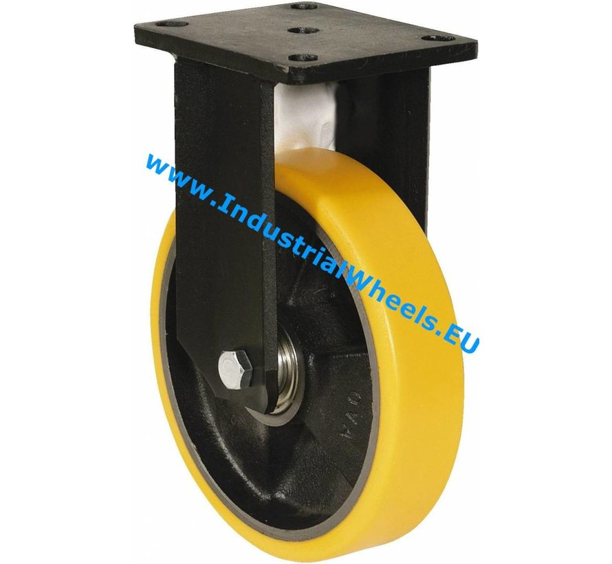 Heavy duty Fixed caster from Welded steel housing, plate fitting, Vulcanized Polyurethane tread, precision ball bearing, Wheel-Ø 125mm, 400KG