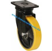 Drejeligt hjul, Ø 125mm, Vulkaniseret Polyuretan, 300KG