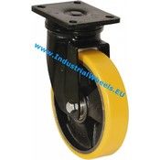 Drejeligt hjul, Ø 200mm, Vulkaniseret Polyuretan, 1100KG