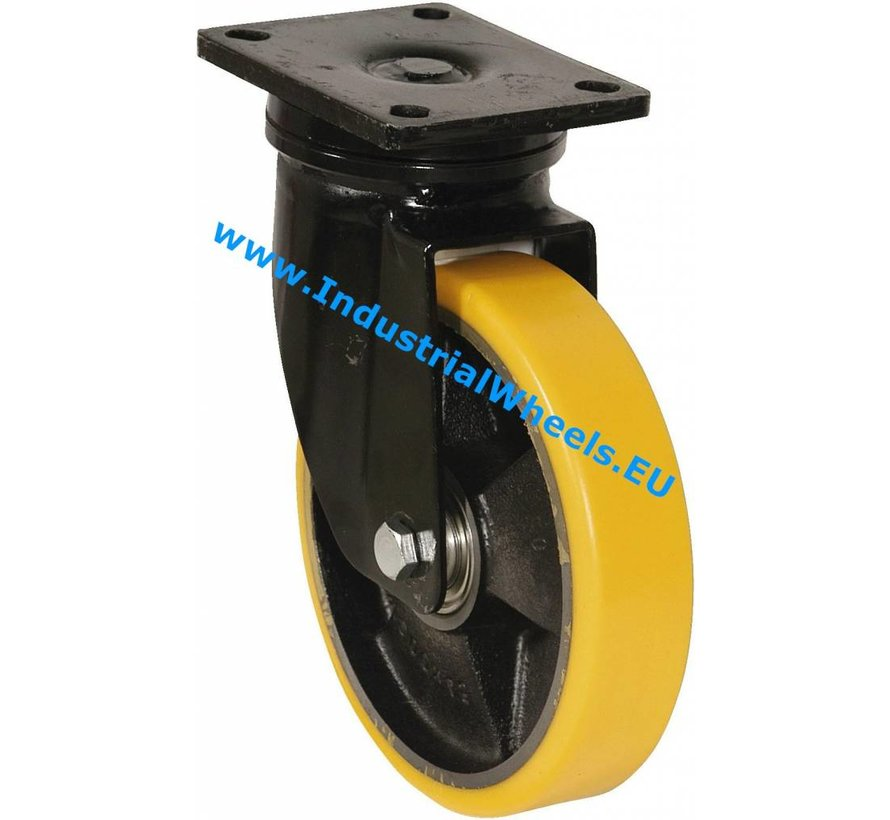 Heavy duty Swivel caster from Welded steel housing, plate fitting, Vulcanized Polyurethane tread, precision ball bearing, Wheel-Ø 200mm, 1100KG