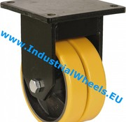 Fixed caster, Ø 125mm, Vulcanized Polyurethane tread, 600KG