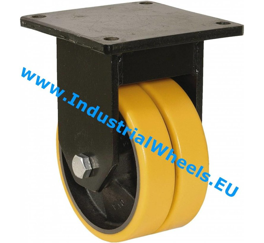 Heavy duty Fixed caster from Welded steel housing, plate fitting, Vulcanized Polyurethane tread, precision ball bearing, Wheel-Ø 125mm, 750KG
