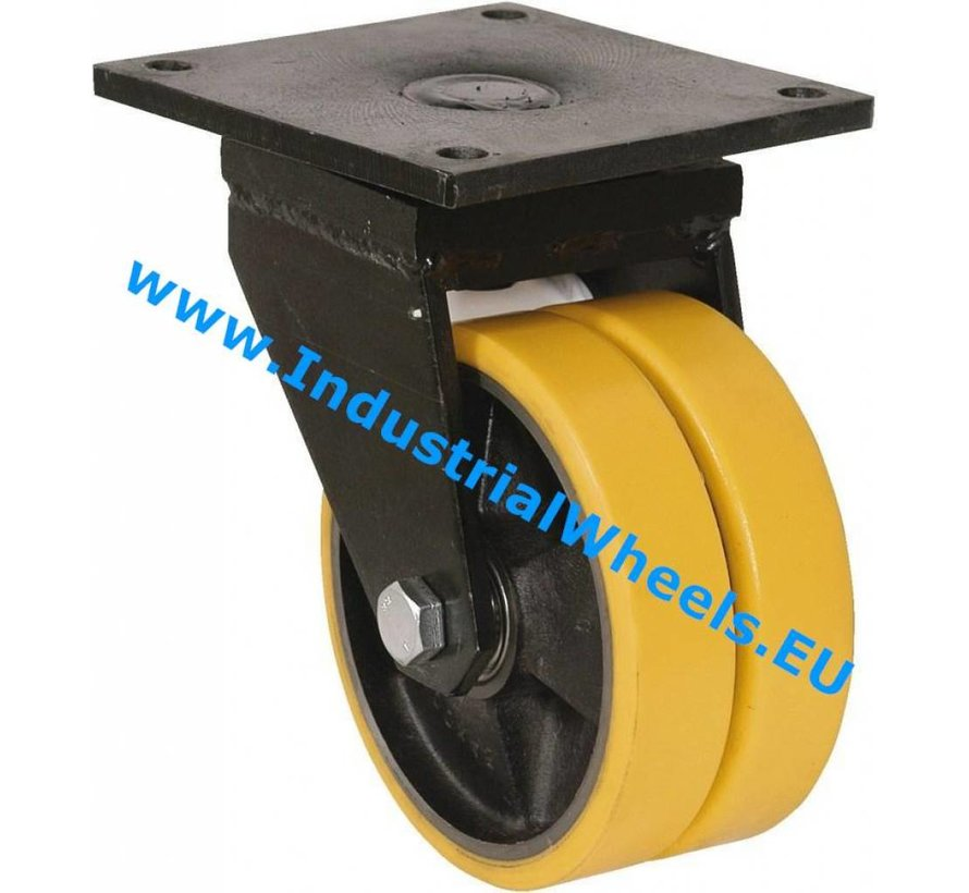 Heavy duty Swivel caster from Welded steel housing, plate fitting, Vulcanized Polyurethane tread, precision ball bearing, Wheel-Ø 125mm, 600KG