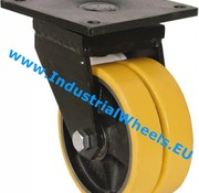 Swivel caster, Ø 200mm, Vulcanized Polyurethane tread, 1600KG
