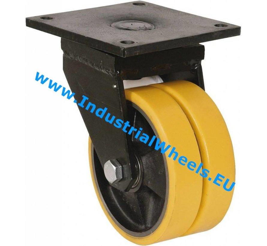 Heavy duty Swivel caster from Welded steel housing, plate fitting, Vulcanized Polyurethane tread, precision ball bearing, Wheel-Ø 200mm, 1600KG