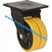 Drejeligt hjul, Ø 500mm, Vulkaniseret Polyuretan, 7000KG