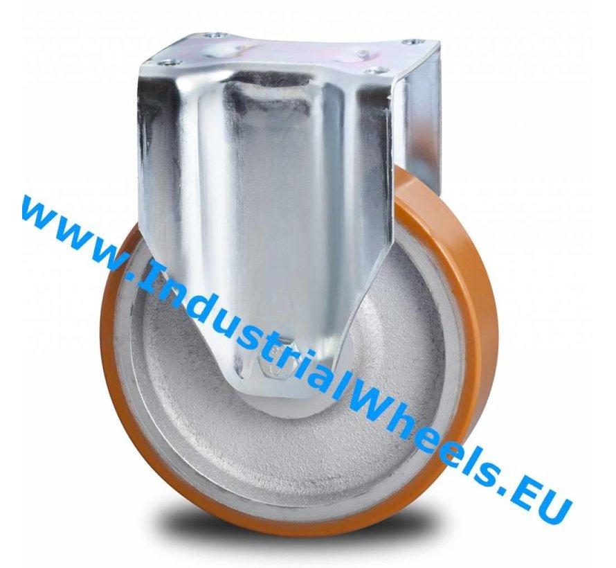 Ruedas de alta capacidad Rueda fija chapa de acero, pletina de fijación, Bandaje polyuréthane vulcanizada, cojinete de bolas de precisión, Rueda-Ø 150mm, 500KG