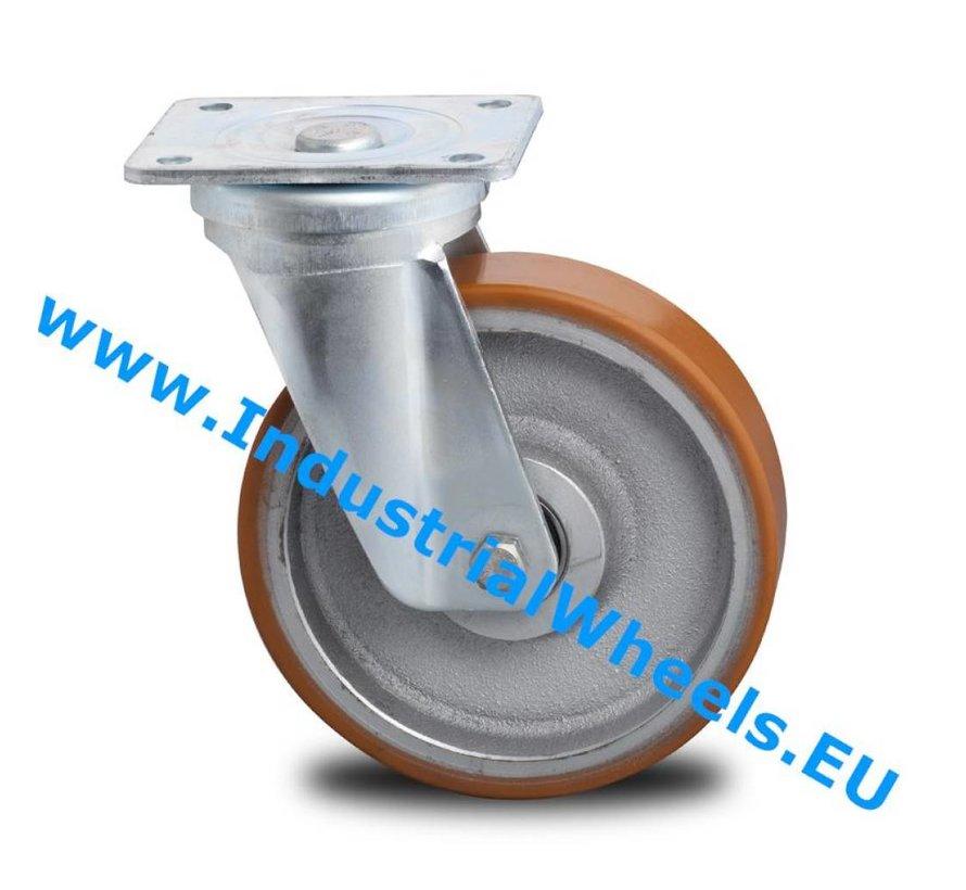 Heavy duty Swivel caster from pressed steel, plate fitting, Vulcanized Polyurethane tread, precision ball bearing, Wheel-Ø 125mm, 400KG