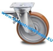Lenkrolle mit Feststeller, Ø 125mm, Vulkanisierte gegossenem Polyurethane Laufflache, 400KG
