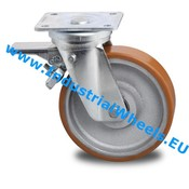 Swivel caster with brake, Ø 200mm, Vulcanized Polyurethane tread, 950KG
