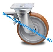 Swivel caster with brake, Ø 200mm, Vulcanized Polyurethane tread, 950KG