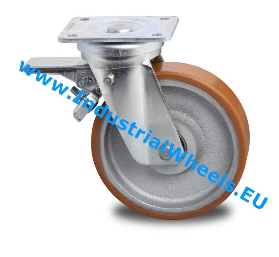 Ruedas de alta capacidad Rueda giratoria con freno chapa de acero, pletina de fijación, Bandaje polyuréthane vulcanizada, cojinete de bolas de precisión, Rueda-Ø 200mm, 950KG