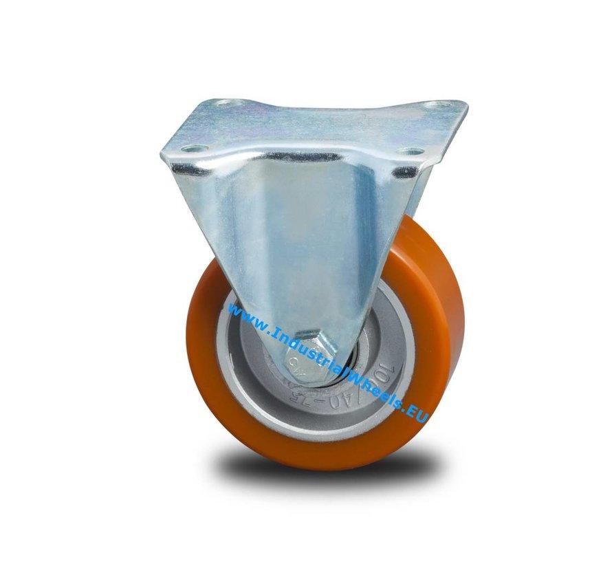 Rodas industriais Reforçado Suporte Roda fixa Pressionado aço duro, poliuretano fundido, rolamento rígido de esferas, Roda-Ø 100mm, 200KG