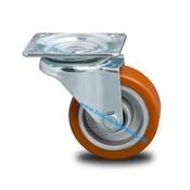 Drejeligt hjul, Ø 100mm, Vulkaniseret Polyuretan, 200KG