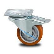 Drejeligt hjul bremse, Ø 100mm, Vulkaniseret Polyuretan, 200KG