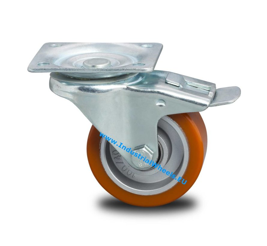 Industrial Reinforced Housing Swivel caster with brake from Pressed hard steel, plate fitting, Vulcanized Polyurethane tread, precision ball bearing, Wheel-Ø 100mm, 200KG