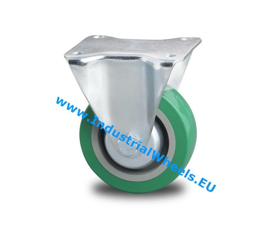 Industrial Reinforced Housing Fixed castor from Pressed hard steel, plate fitting, polyurethane-tyre, roller bearing, Wheel-Ø 100mm, 250KG