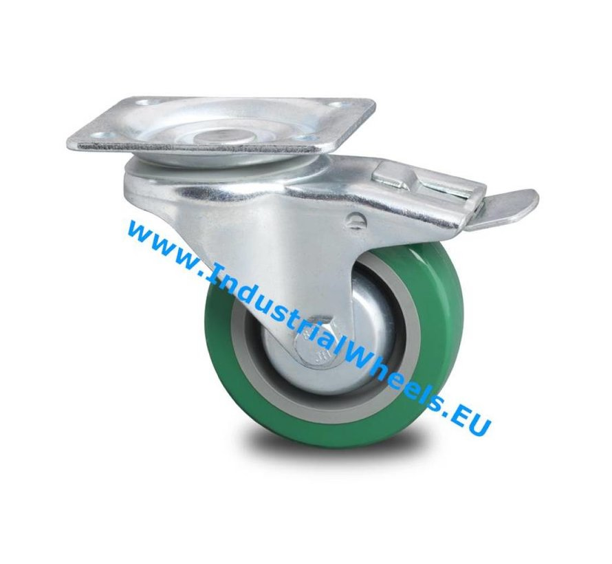 Industrial Reinforced Housing Swivel caster with brake from Pressed hard steel, plate fitting, polyurethane-tyre, roller bearing, Wheel-Ø 100mm, 250KG