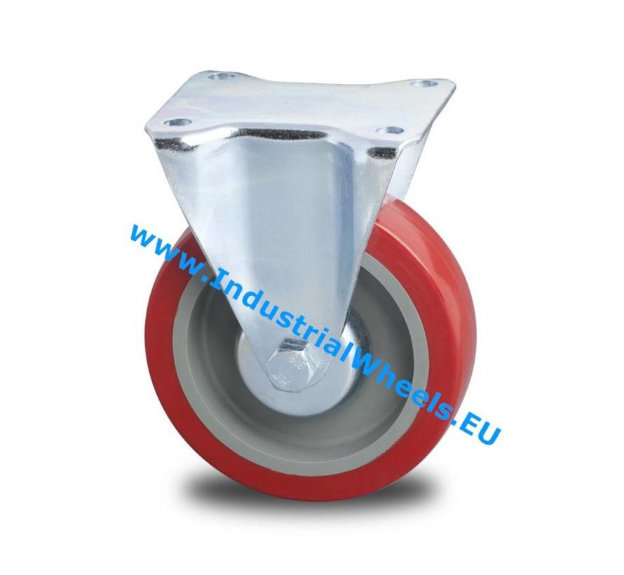Industrial Reinforced Housing Fixed caster from Pressed hard steel, plate fitting, polyurethane-tyre, roller bearing, Wheel-Ø 125mm, 250KG