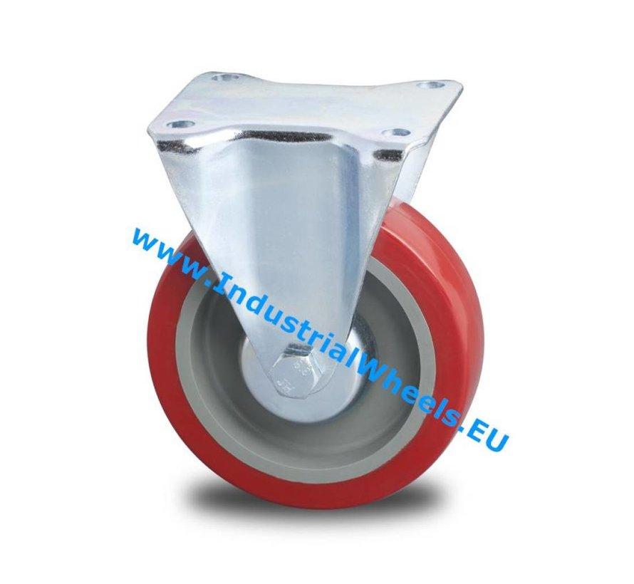 Roulettes industrielles renforcée Chape Roulette fixe de Pressé acier dur, Fixation à platine, élastique, roulements rouleaux, Roue-Ø 125mm, 250KG