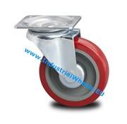 Drejeligt hjul, Ø 125mm, Elastisk gummi, 250KG