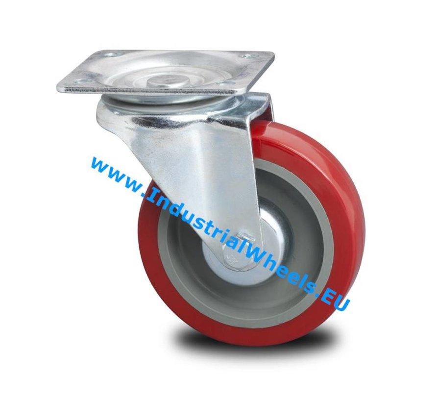 Industriförstärkt hus Vridbart hjul från pressat hårt stål, plattmontering, polyuretandäck, rullager, Wheel-Ø 125mm, 250KG