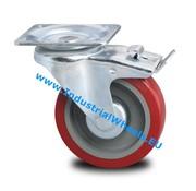 Drejeligt hjul bremse, Ø 125mm, Elastisk gummi, 250KG