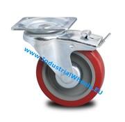 Roulette pivotante avec blocage, Ø 125mm, Pneus en polyuréthane, 250KG