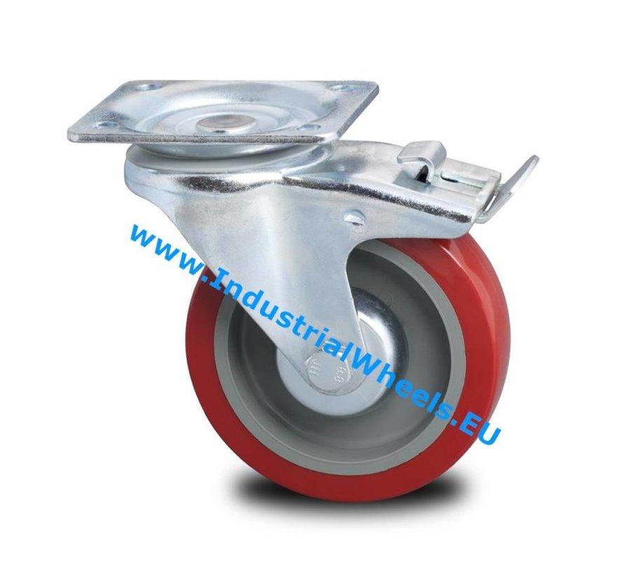 Industrial reinforced housing swivel castor with brake from pressed hard steel, plate fitting, polyurethane-tyre, roller bearing, Wheel-Ø 125mm, 250KG