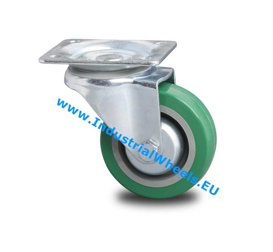 Industrial Reinforced Housing Swivel caster from Pressed hard steel, plate fitting, polyurethane-tyre, roller bearing, Wheel-Ø 100mm, 250KG