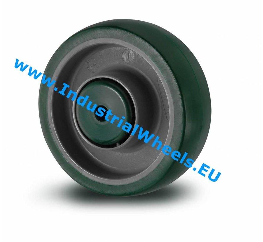 Ruedas para transporte industrial Rueda  poliuretano inyectado, cojinete de bolas de precisión, Rueda-Ø 100mm, 150KG