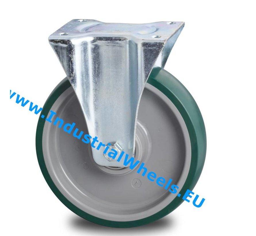 Ruedas para transporte industrial Rueda fija chapa de acero, pletina de fijación, poliuretano inyectado, cojinete de bolas de precisión, Rueda-Ø 200mm, 300KG