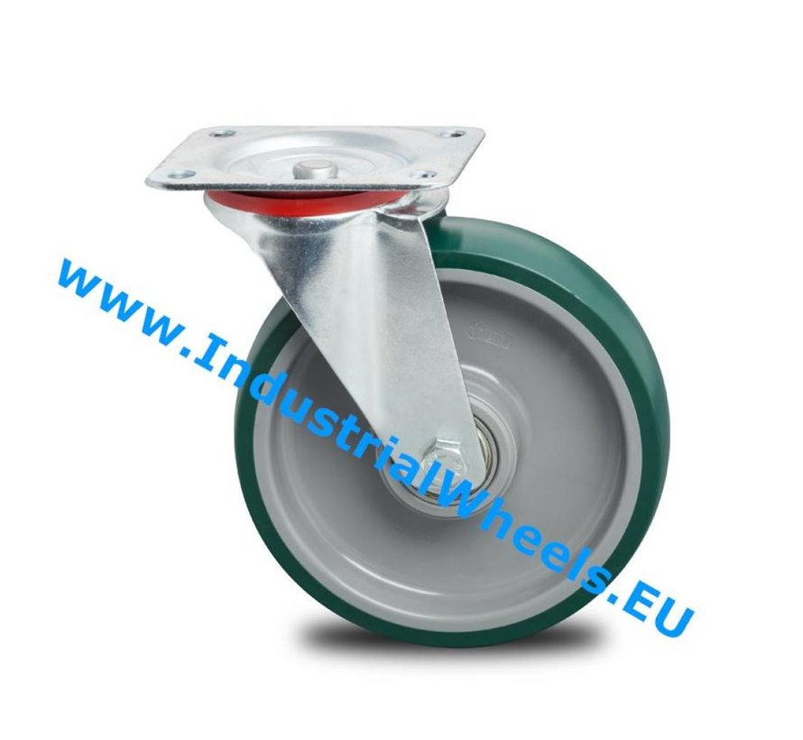 Industrial Swivel caster from pressed steel, plate fitting, Injected polyurethane, precision ball bearing, Wheel-Ø 200mm, 300KG