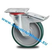Lenkrolle mit Feststeller, Ø 125mm, gespritztem Polyurethan, 200KG