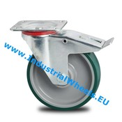 Swivel caster with brake, Ø 200mm, Injected polyurethane, 300KG