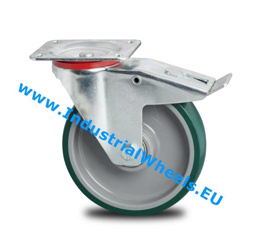 Industrial Swivel caster with brake from pressed steel, plate fitting, Injected polyurethane, precision ball bearing, Wheel-Ø 200mm, 300KG