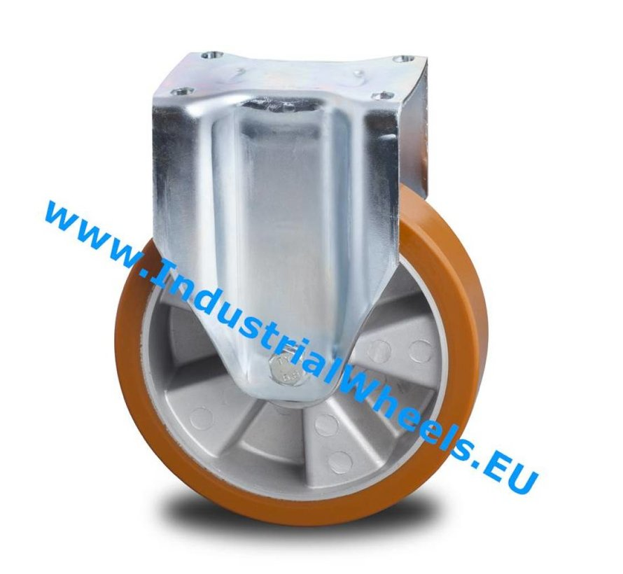 Heavy duty Fixed caster from pressed steel, plate fitting, Vulcanized Polyurethane tread, precision ball bearing, Wheel-Ø 160mm, 600KG
