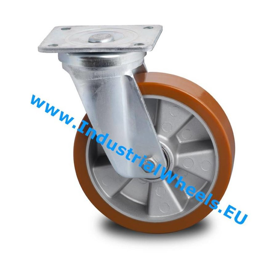 Heavy duty Swivel caster from pressed steel, plate fitting, Vulcanized Polyurethane tread, precision ball bearing, Wheel-Ø 125mm, 300KG